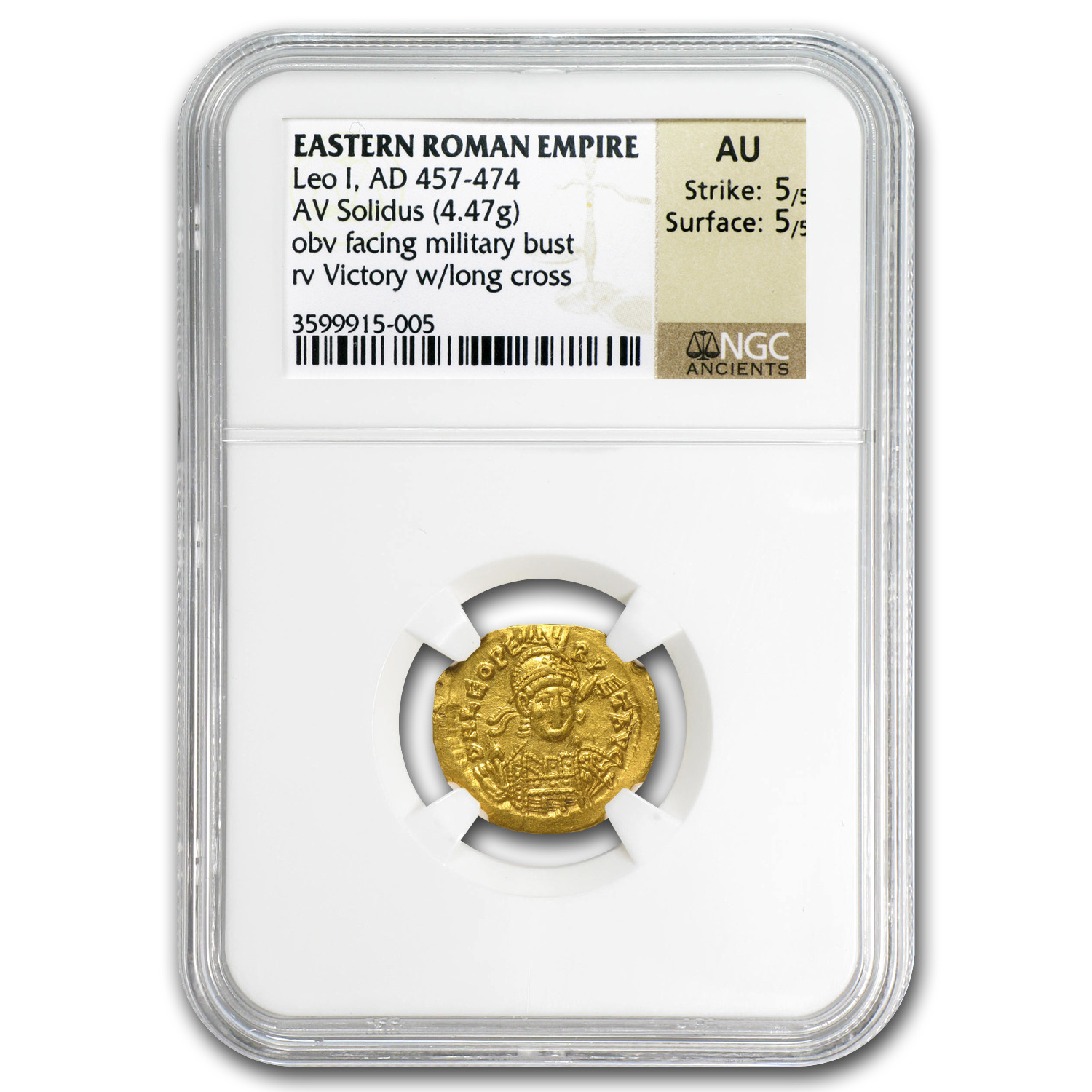 Eastern Roman Gold Solidus of Leo I AU NGC (457-474 AD)