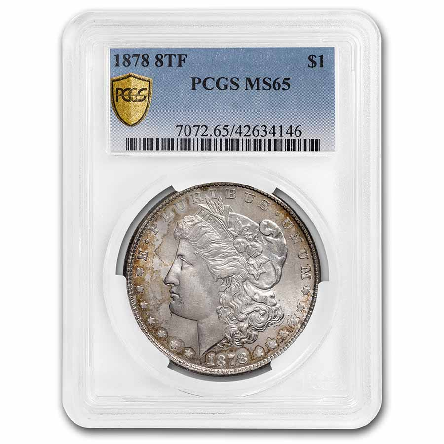 1878 Morgan Dollar 8 TF MS-65 PCGS
