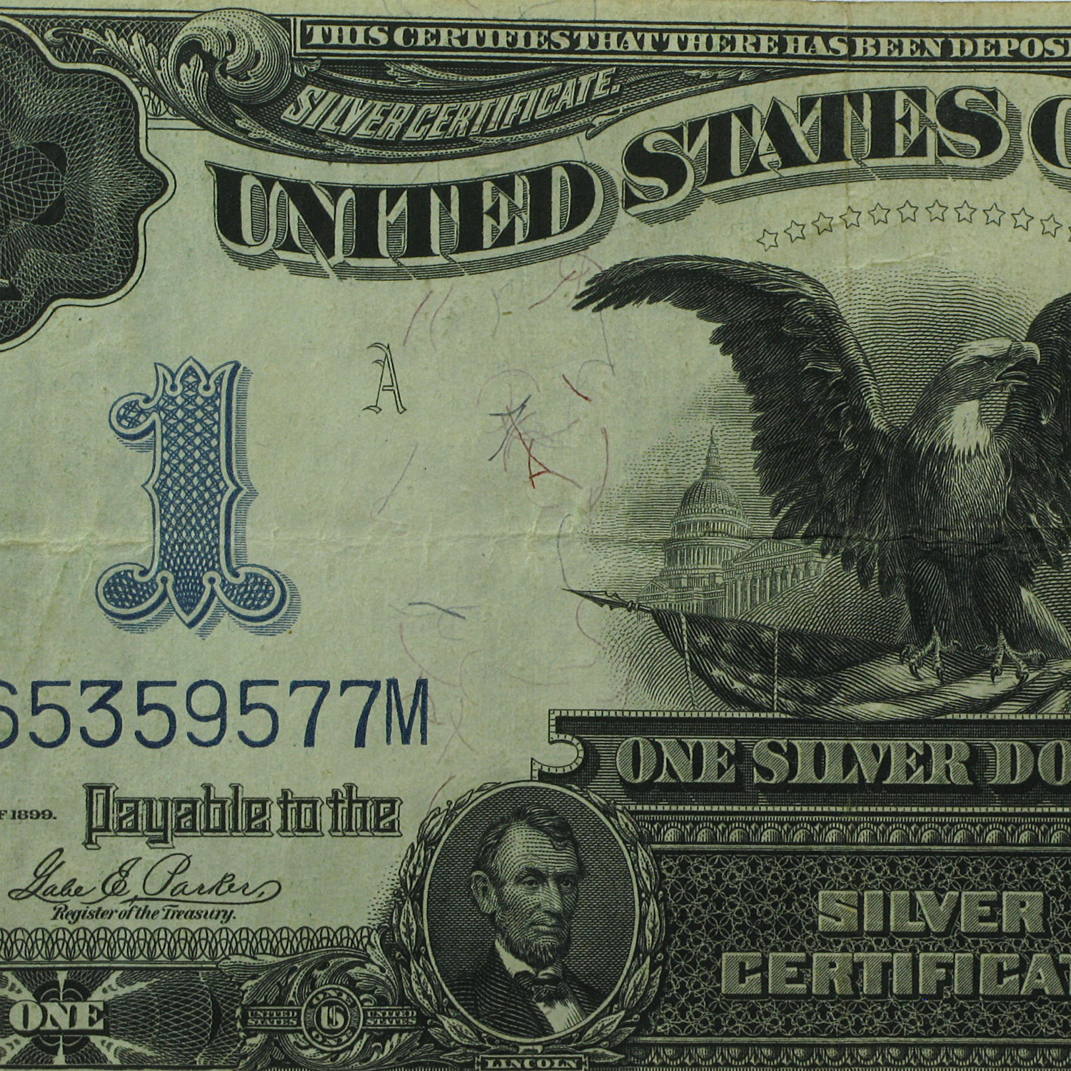 1899 $1.00 Silver Certificate Black Eagle (Very Fine)