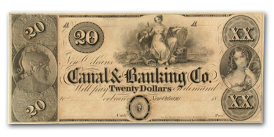 18__ Canal & Banking Co. of New Orleans $20 Note LA-105 AU Detail