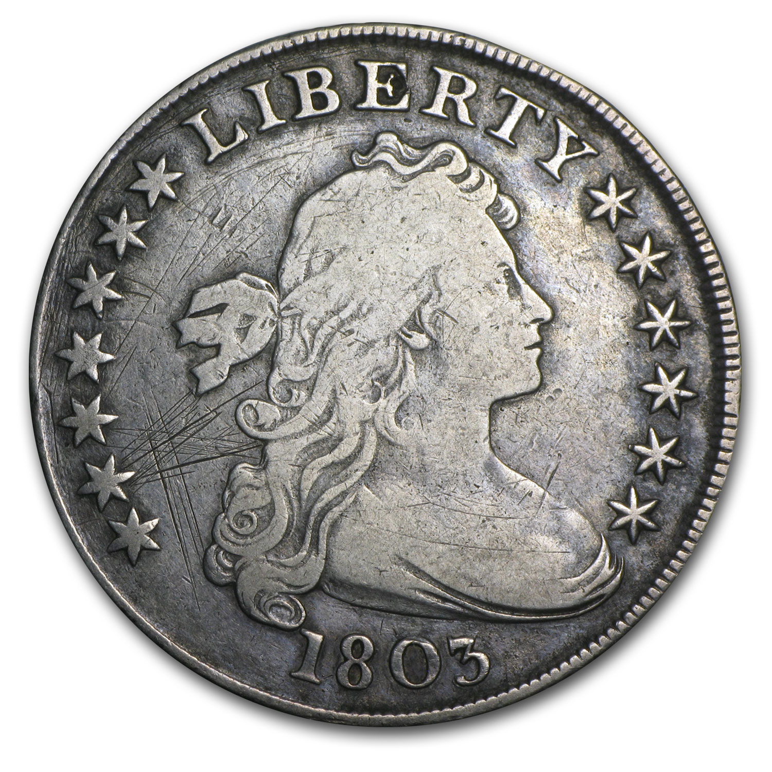 1803 Draped Bust Dollar Very Fine Details - Scratched