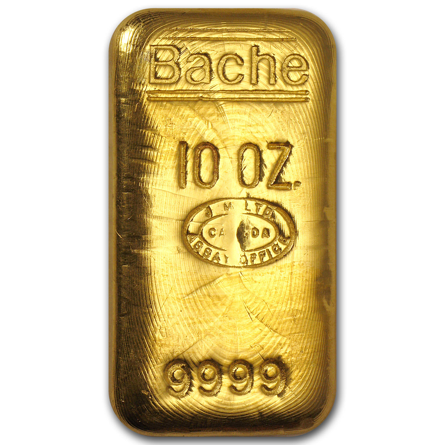 10 oz Gold Bar - Johnson Matthey (Loaf-Style, Bache)