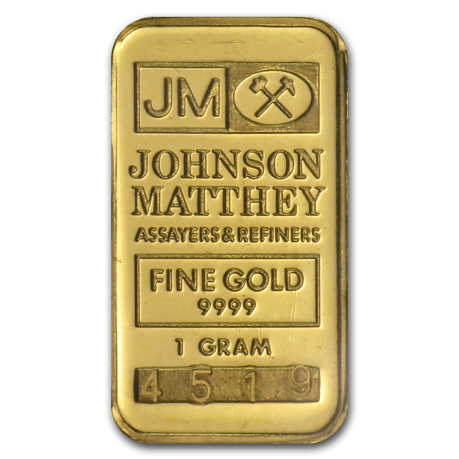 1 gram Gold Bar - Johnson Matthey (Logo Back)