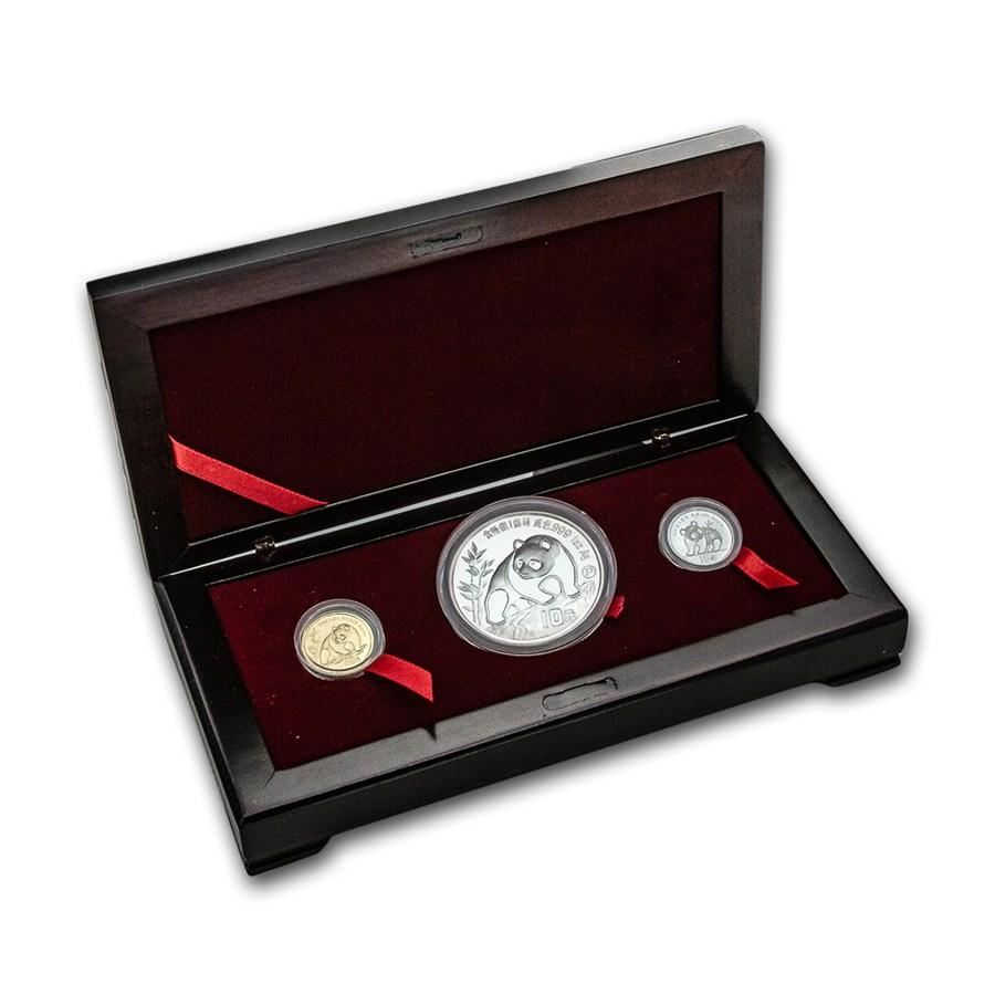 1990 China 3 Coin Prestigious Panda Set Gold Panda Sets