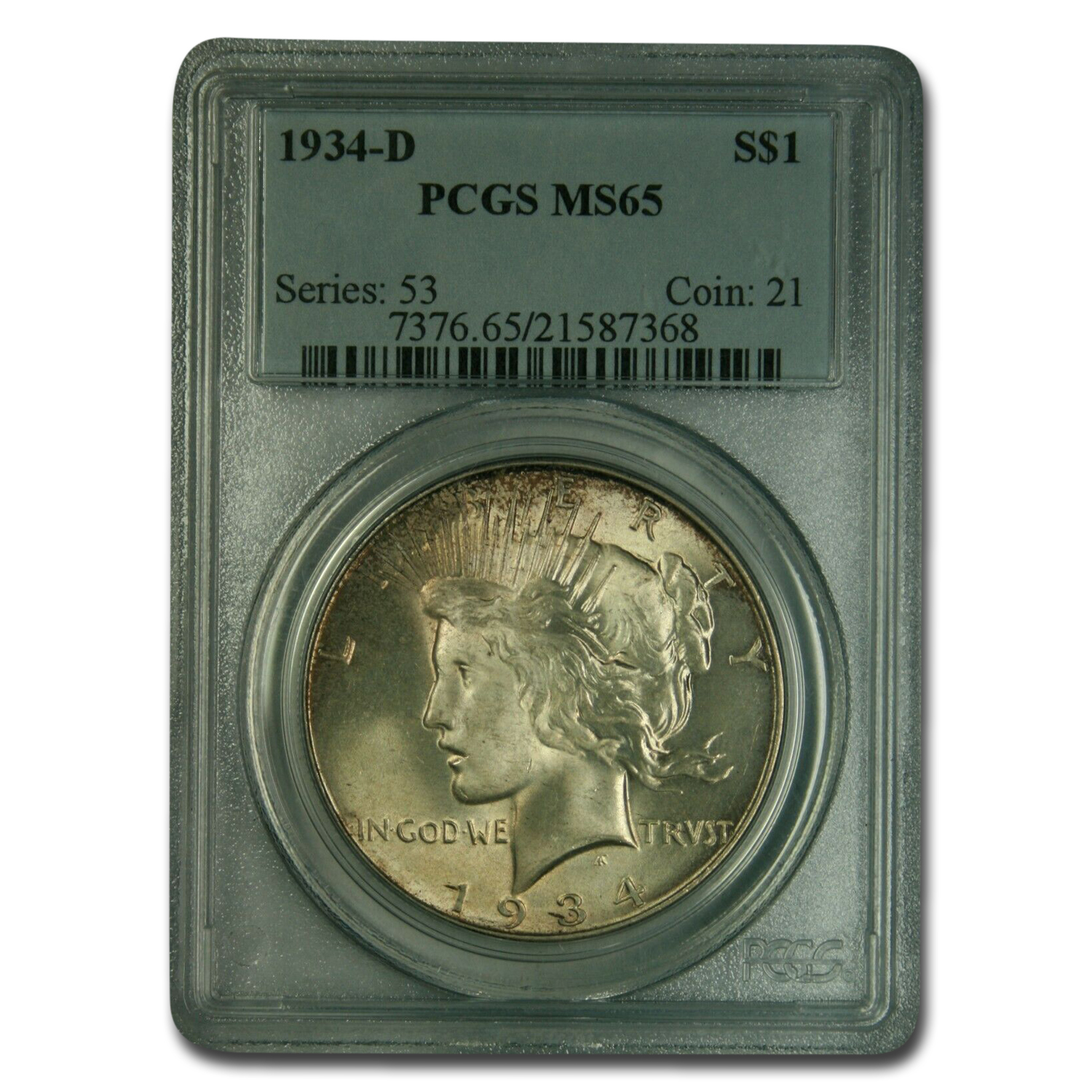 1934-D Peace Dollar MS-65 PCGS