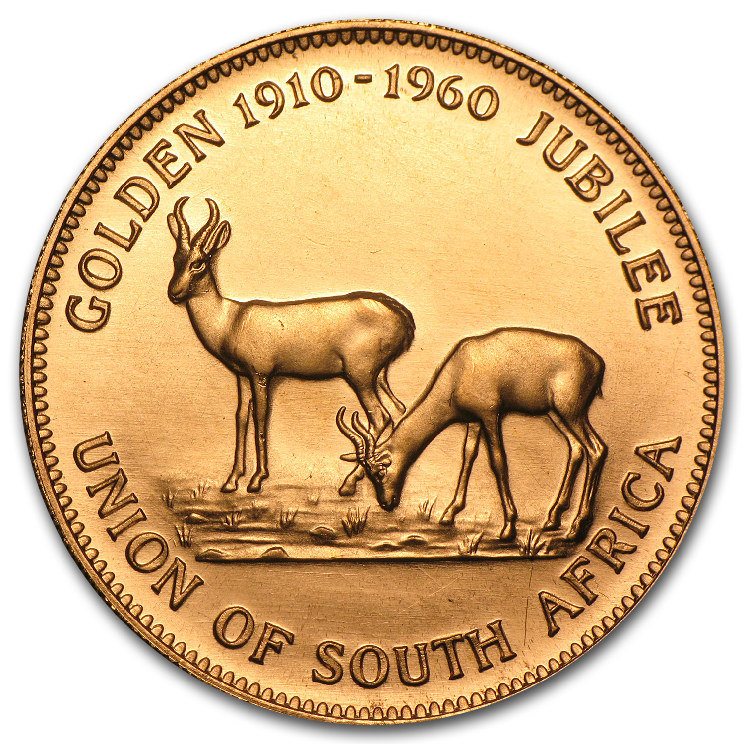 1960 South Africa Gold 1 oz Medal Golden Jubilee (English)