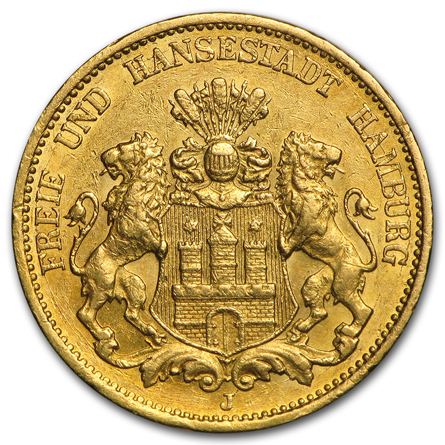 1875-1913 Germany Gold 20 Marks Hamburg Avg Circ (Random)