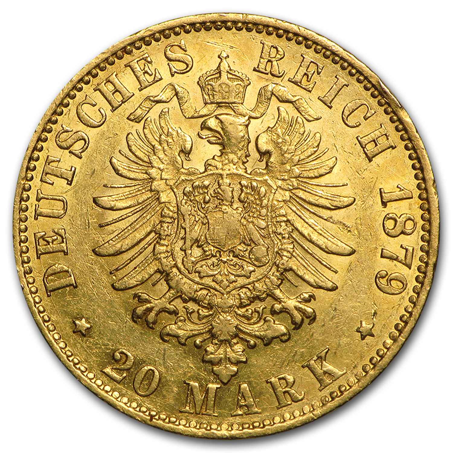 1875-1913 Germany Gold 20 Marks Hamburg Avg Circ