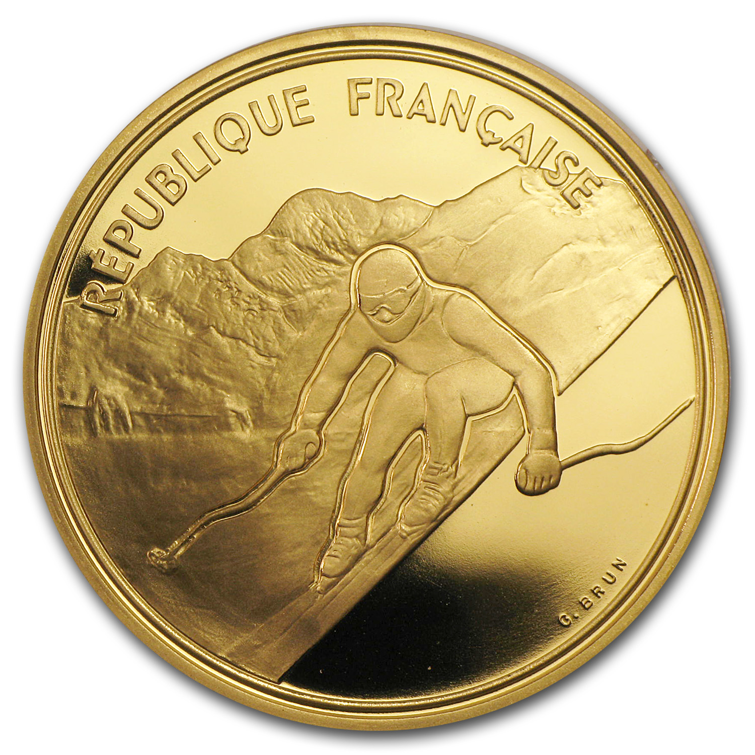 France 1989-1991 Proof Gold 500 Francs Winter Olympics .5028 AGW