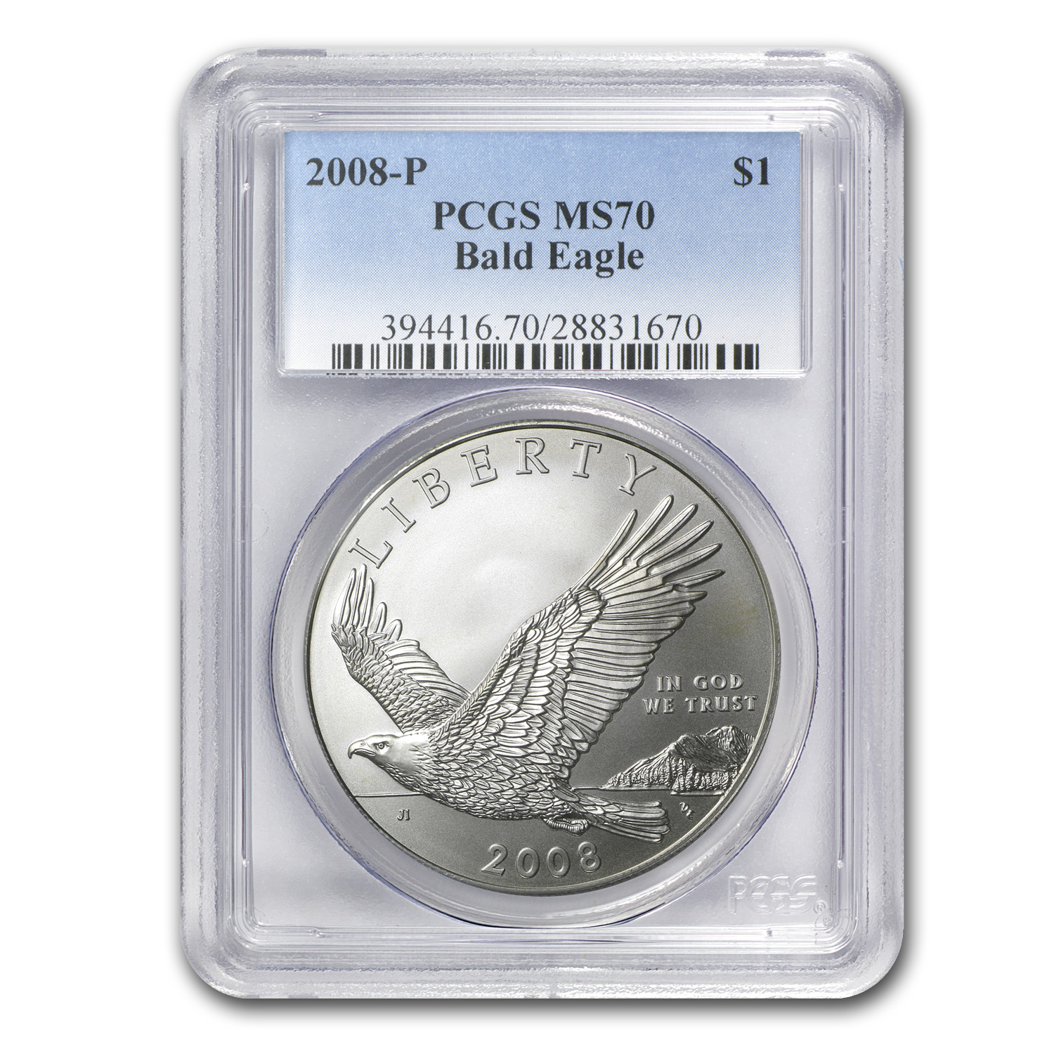 2008-P Bald Eagle $1 Silver Commem MS-70 PCGS