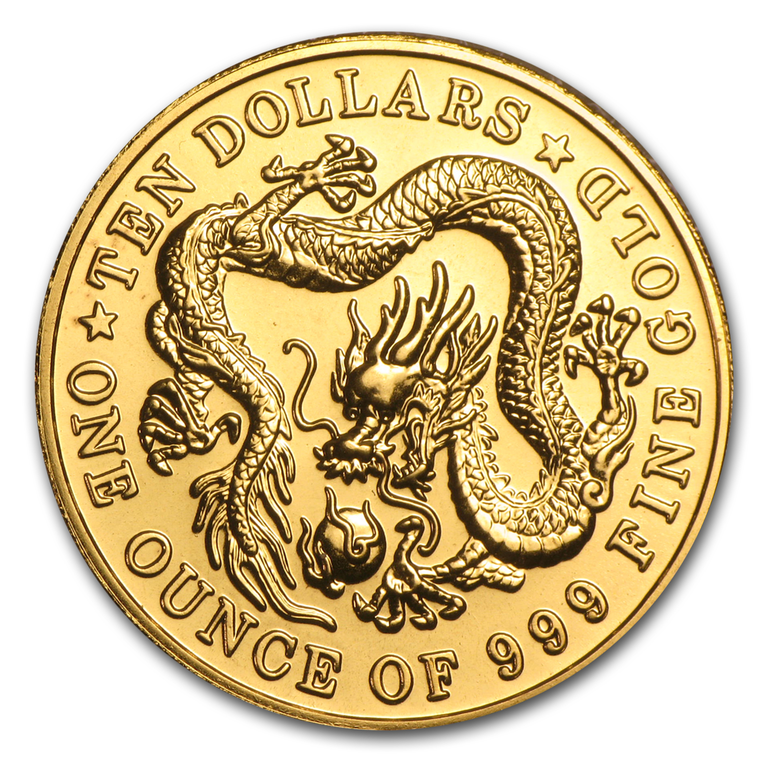 Singapore 1983-1984 10 Dollar 1 oz .999 Gold Dragon