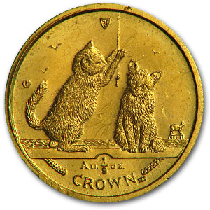 Isle of Man Gold 1/5 Crown Cat (Abrasions, Random)