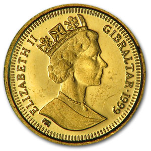 Gibraltar 1/25 oz Gold Royal Cherub/Dog (Rndm Year, Off Quality)