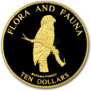 Bahamas 1995 10 Dollars Gold 1/2 oz Proof Bahama Parrot