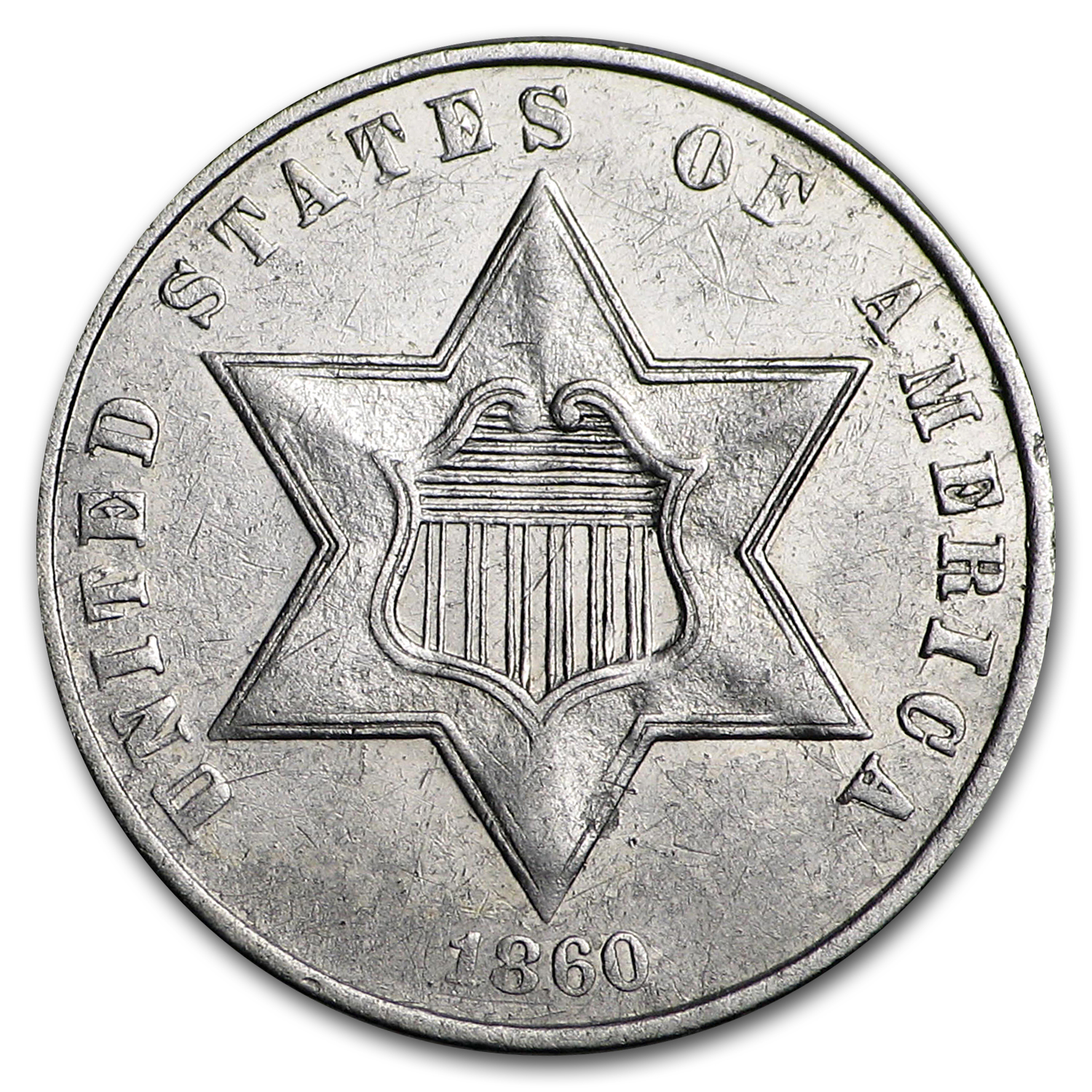 1860 Three Cent Silver AU
