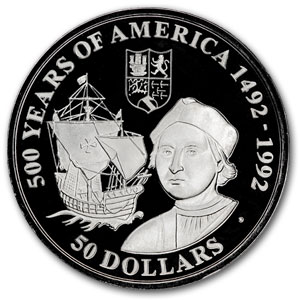 Cook Islands Silver $50 500 Years of America Proof