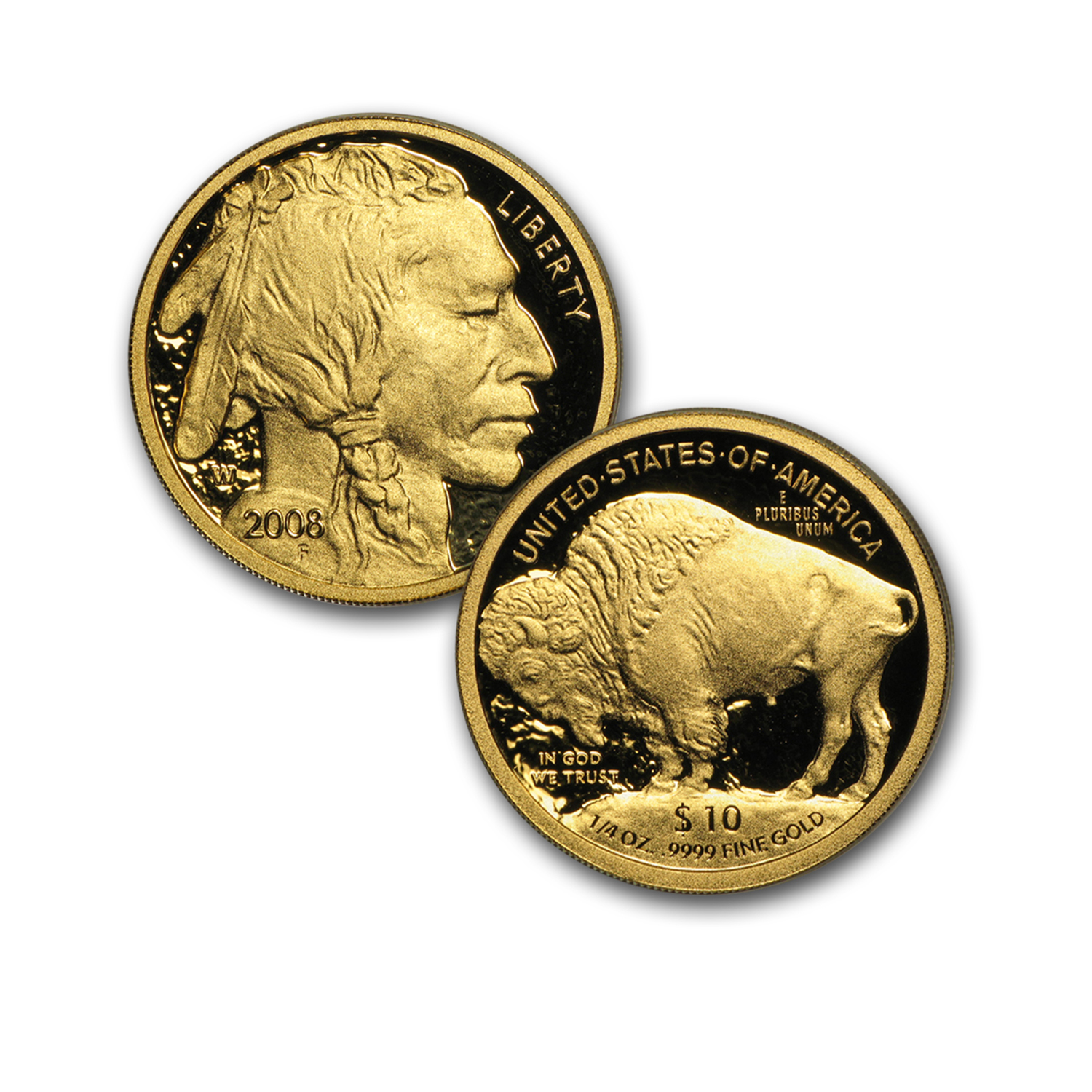 2008-W 4-Coin Proof Gold Buffalo Set (W/Box & CoA)