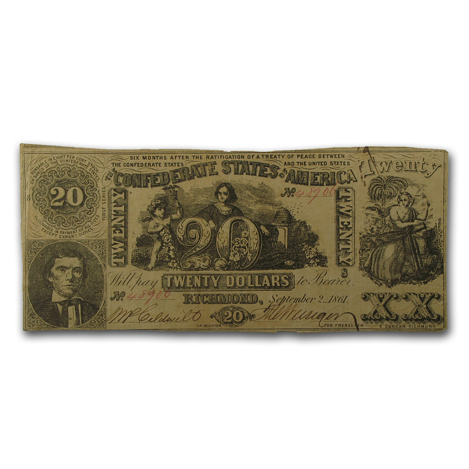 1861 $20 (T-20) Navigation & Beehive VF