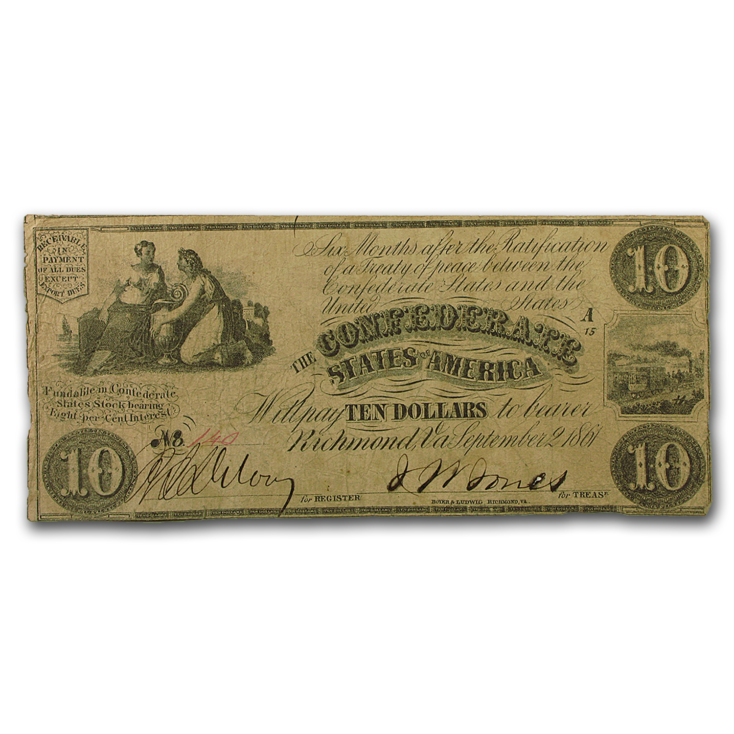 1861 CSA $10 (T-28) Ceres & Commerce w/Urn VF