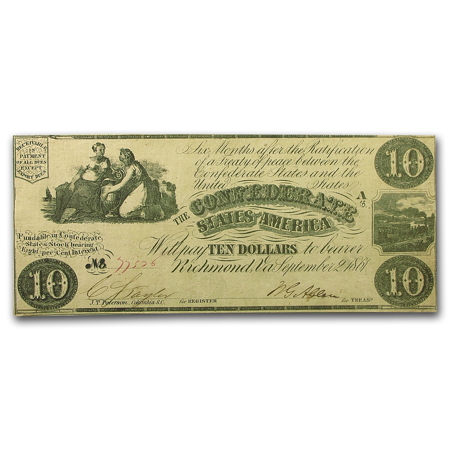 1861 CSA $10.00 (T-28) Ceres & Commerce w/Urn XF