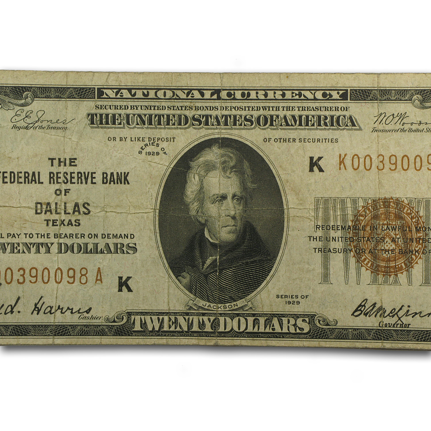 1929 (K-Dallas) $20 (Brown Seal) FRN (Fine)