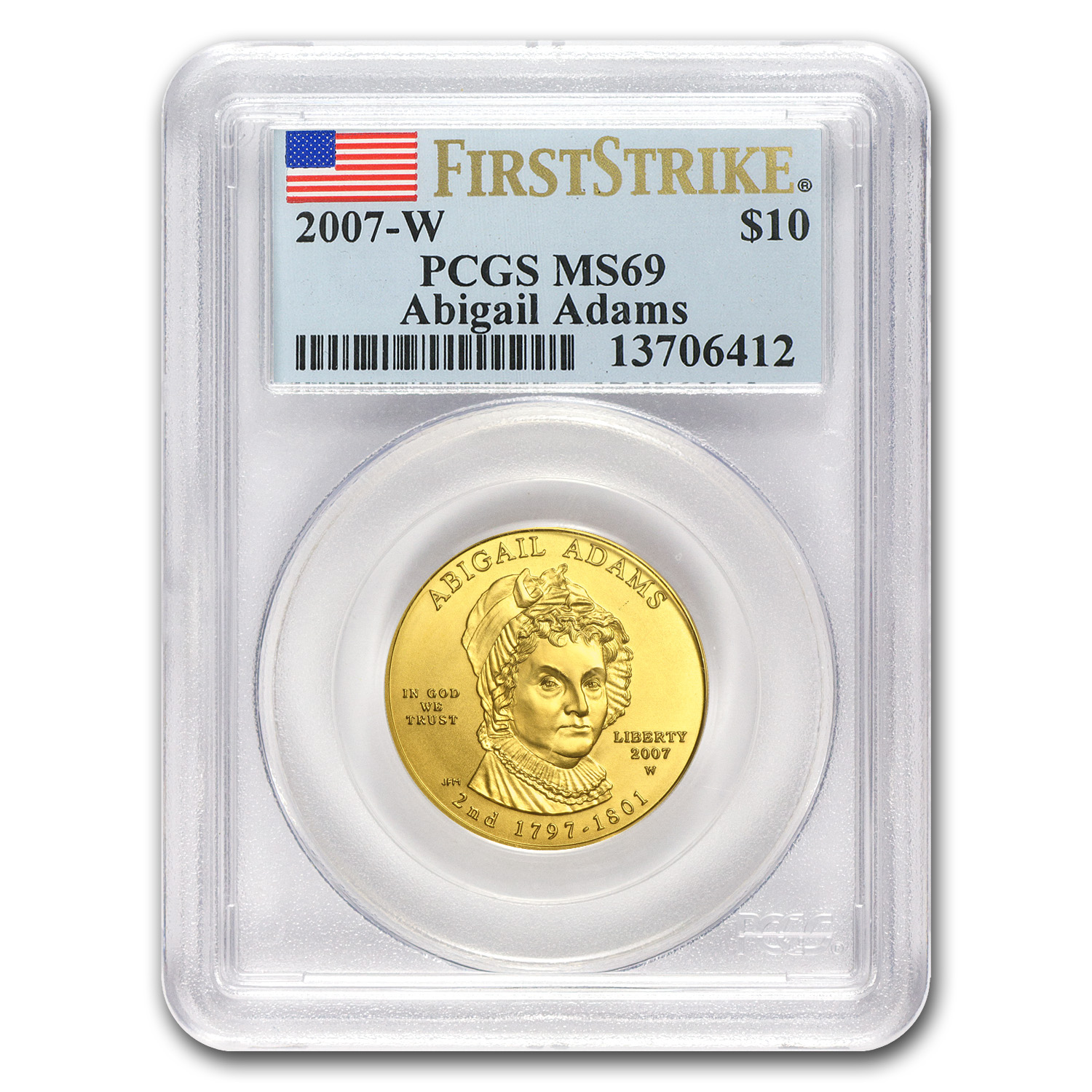 2007-W 1/2 oz Gold Abigail Adams MS-69 PCGS (First Strike)