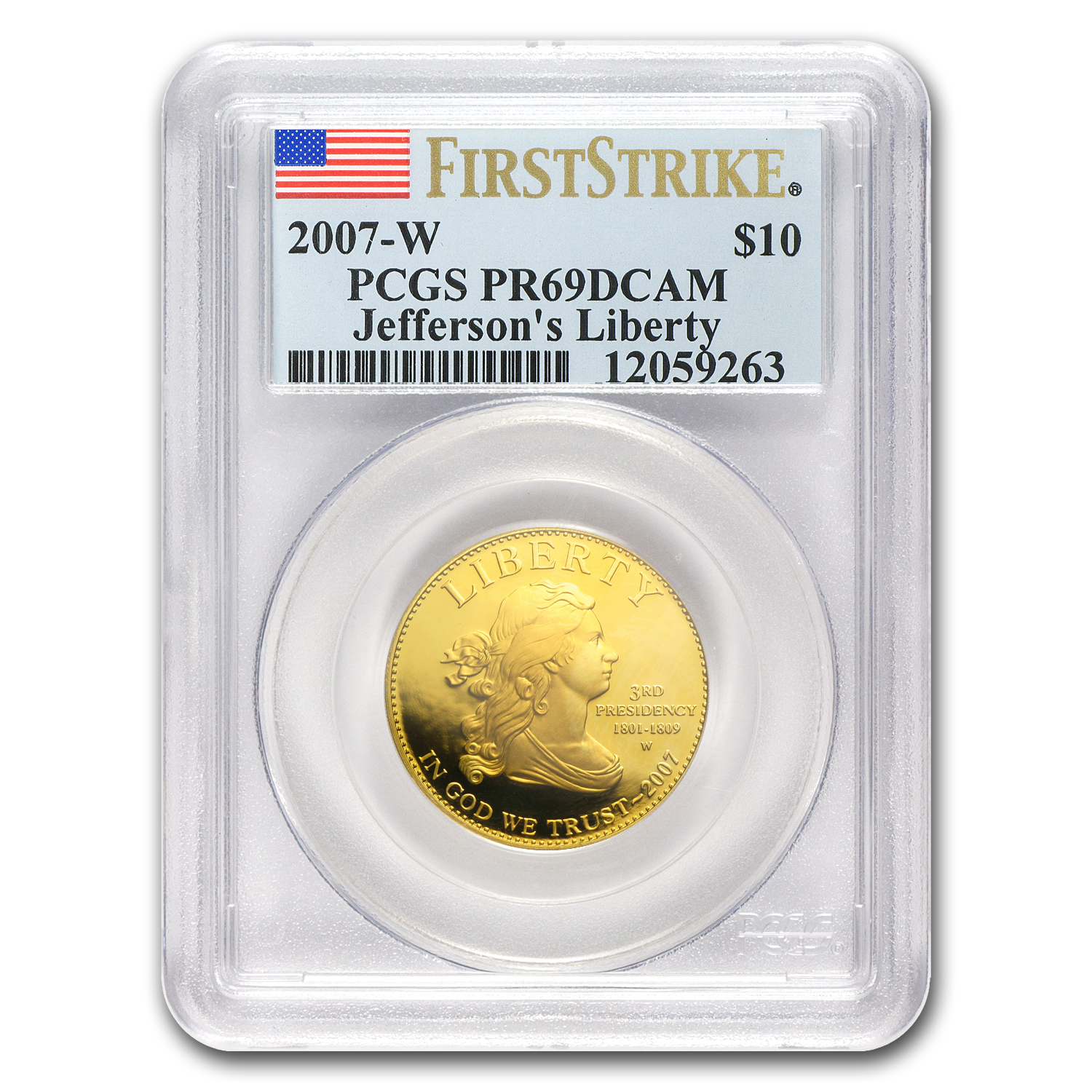 2007-W 1/2 oz Proof Gold Jefferson's Liberty PR-69 PCGS (FS)
