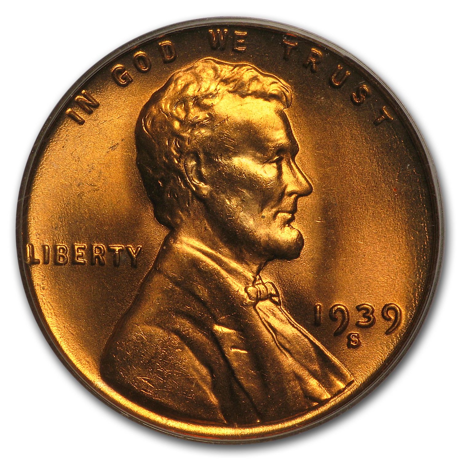 1939-S Lincoln Cent MS-66 PCGS (Red)