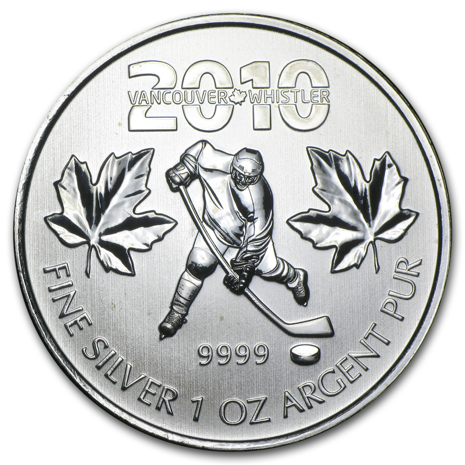 2010 1 oz Silver Canadian Olympic Hockey (BU)