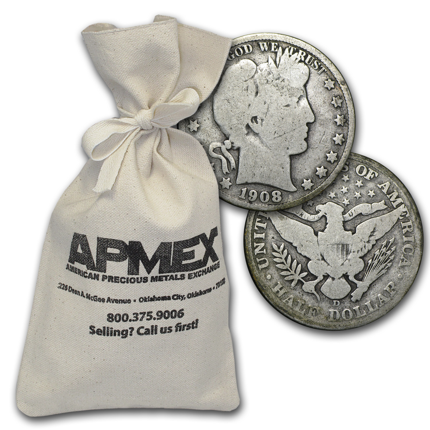 90% Silver Barber Half-Dollars $500 Face-Value Bag