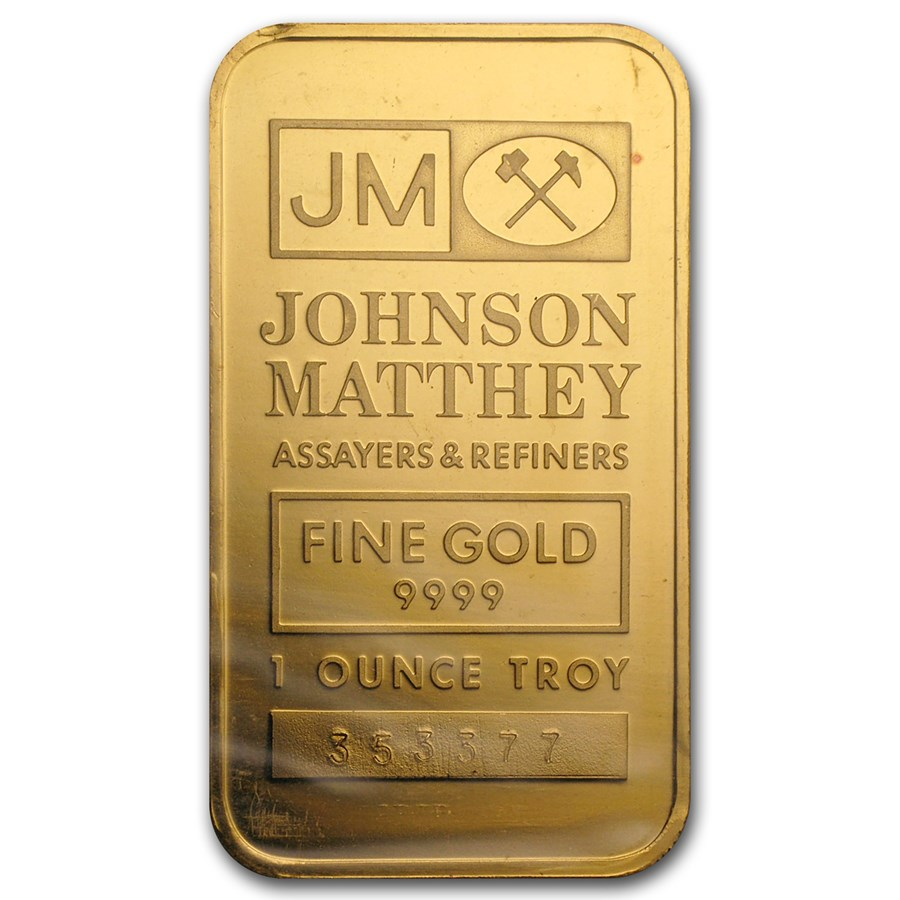 1 Oz Gold Johnson Matthey Bar Sealed With Green Card