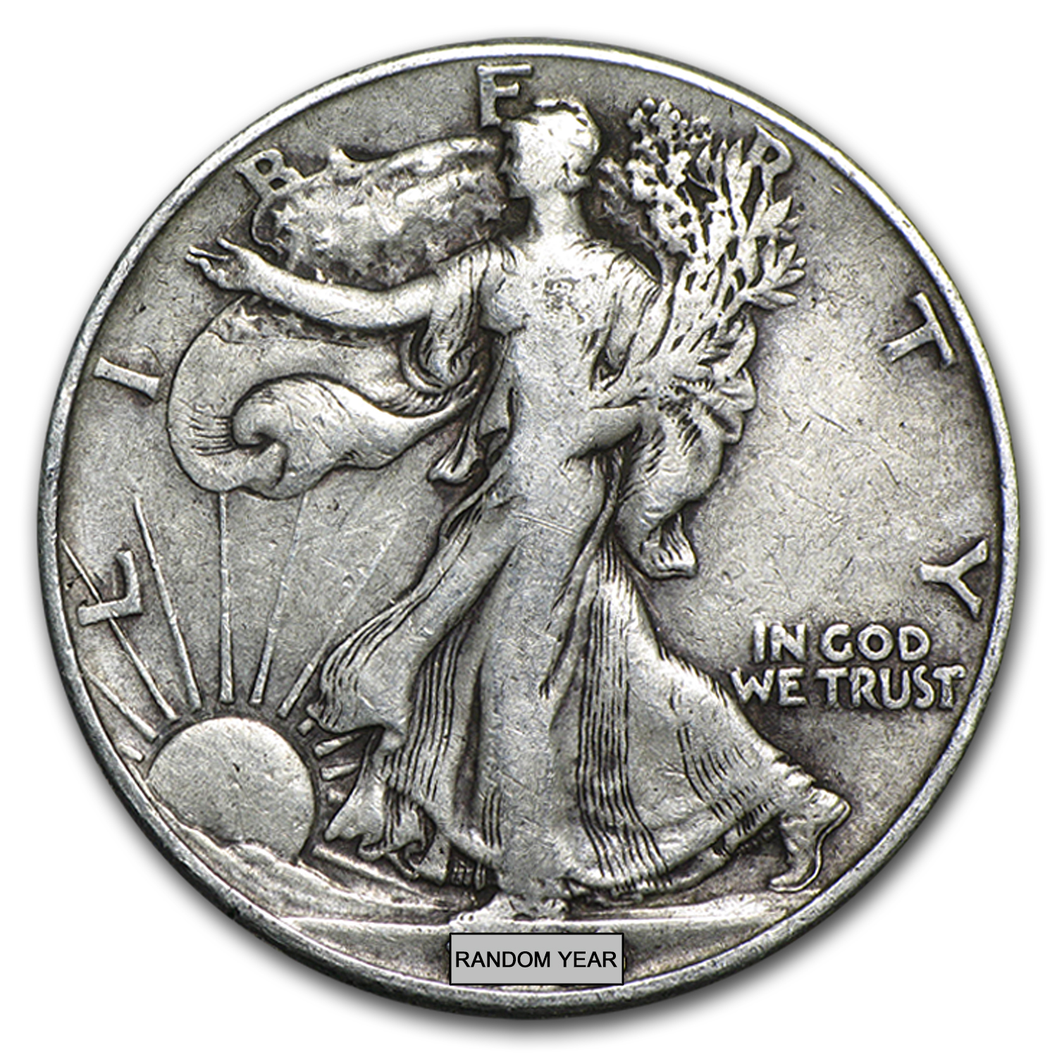 90% Silver Walking Liberty Halves $10 20-Coin Roll Average Circ