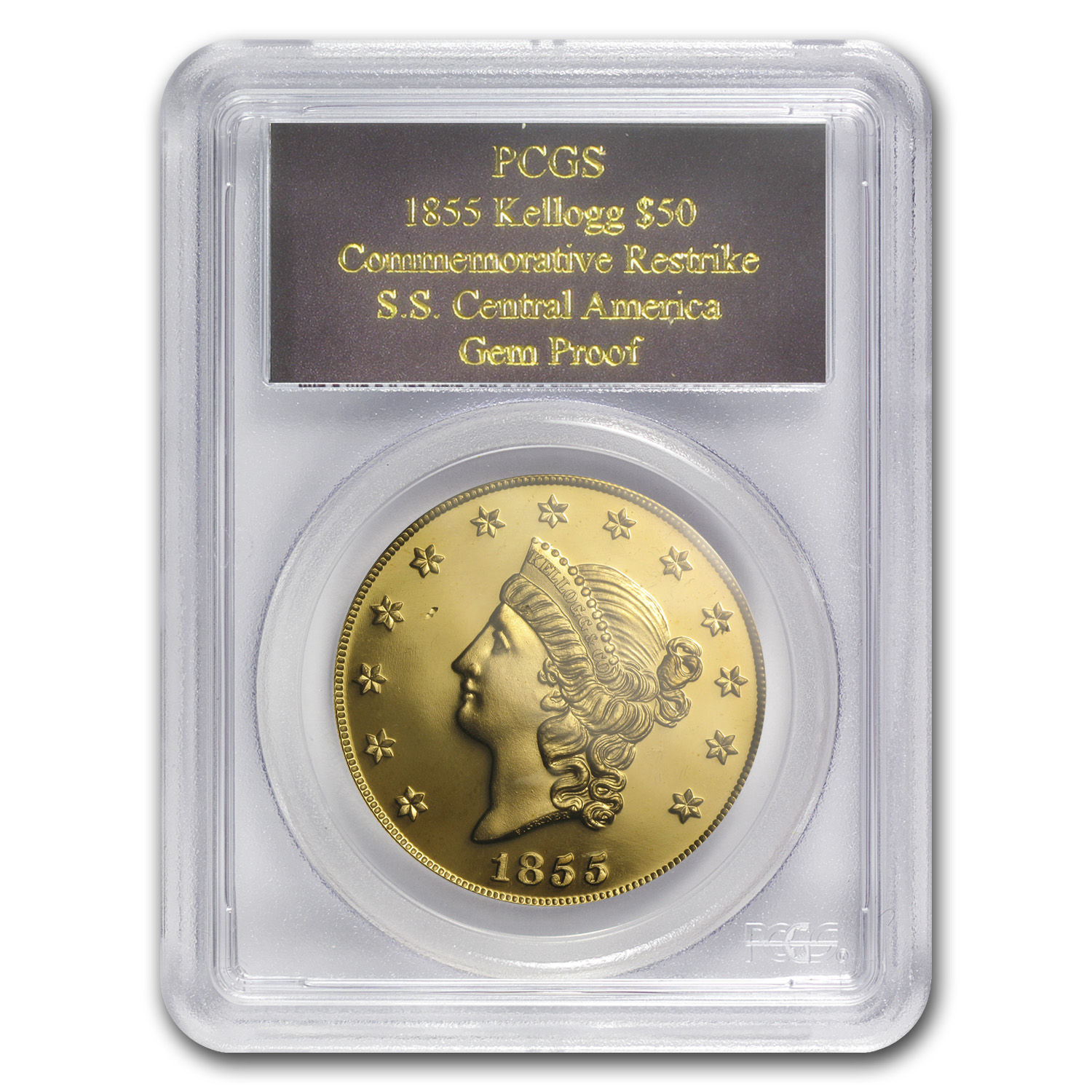 2.419 oz Gold Round - $50 Kellogg Restrike (PCGS GEM Proof)