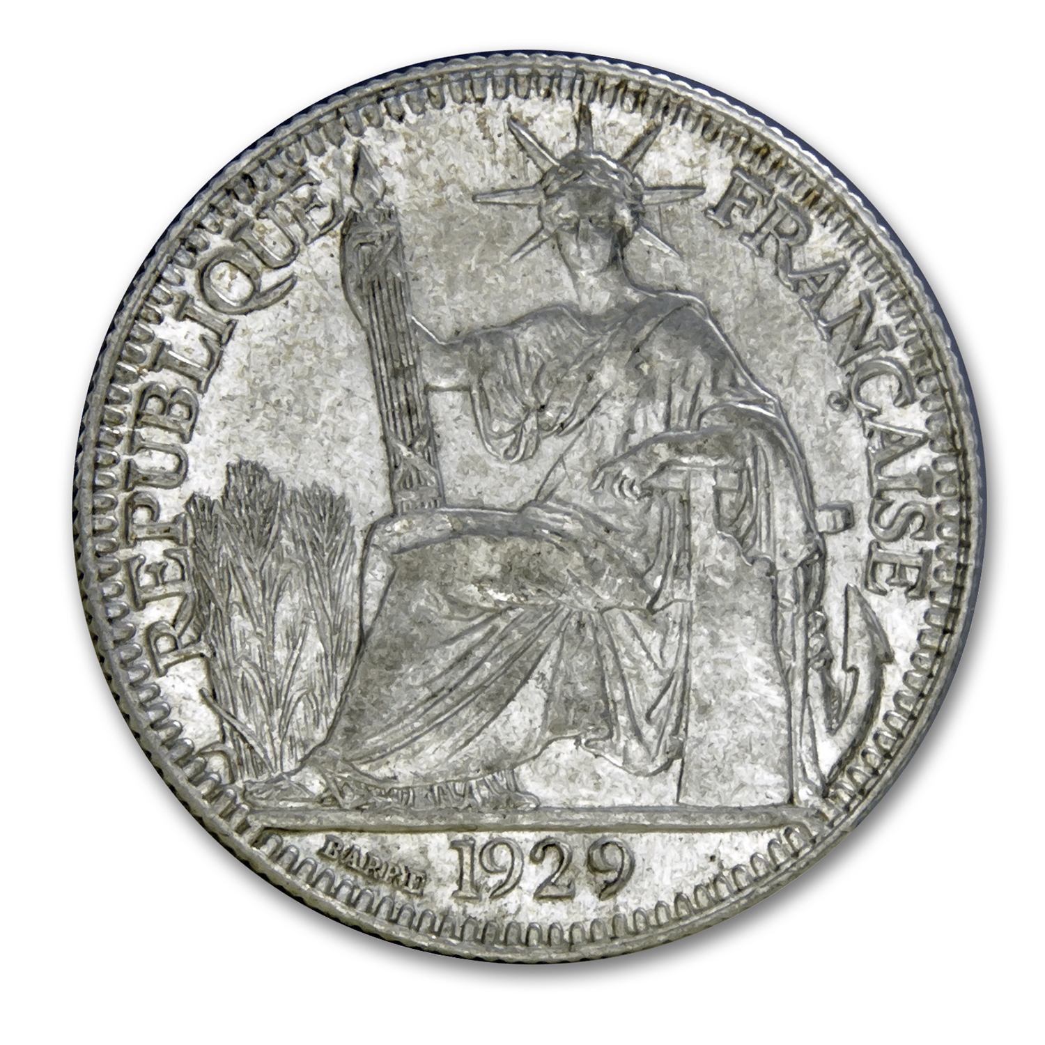 1929 French Indo-China Silver 10 Centimes AU