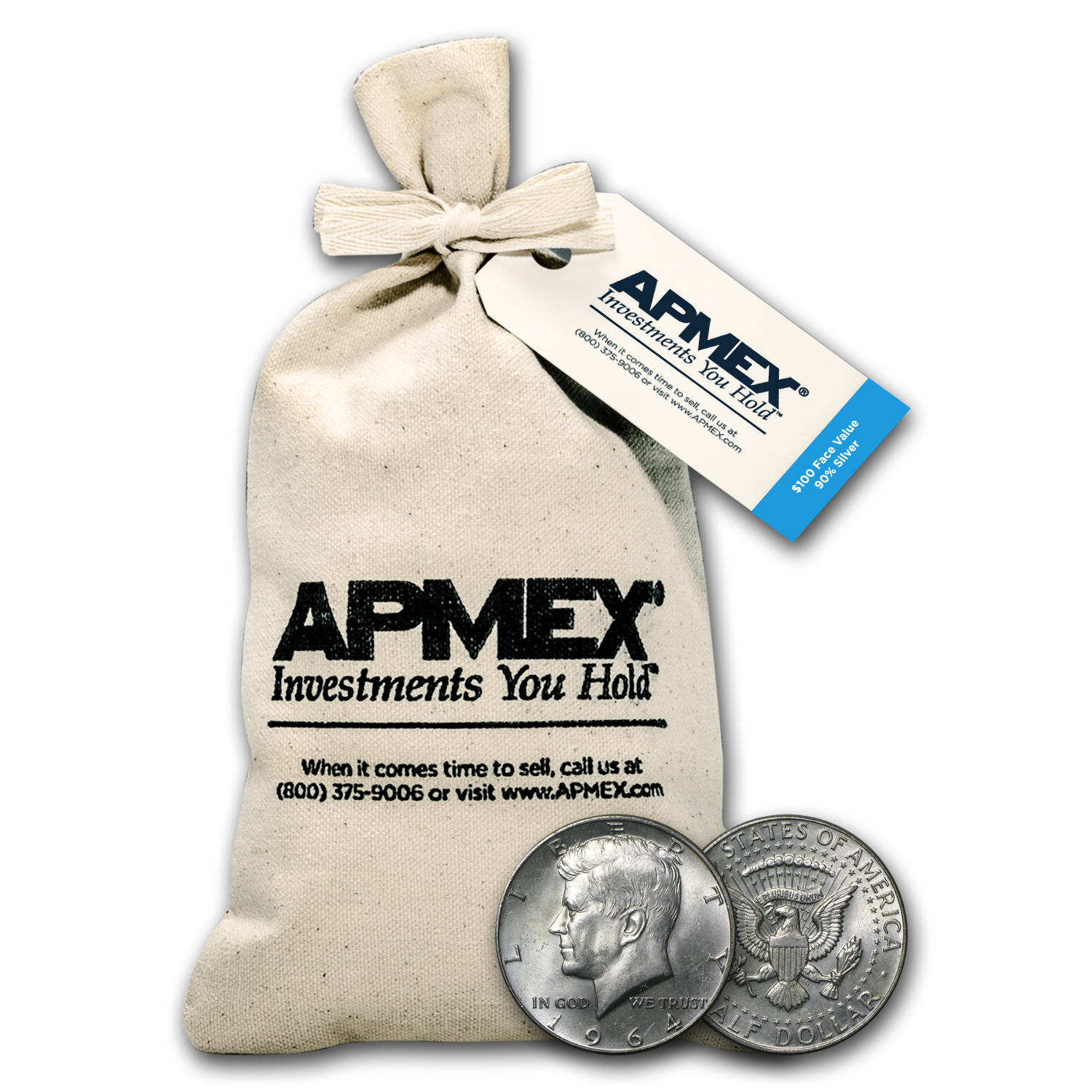 90% Silver Kennedy Half-Dollars $100 Face-Value Bag (1964)