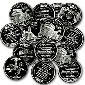1 oz Silver Rounds - 50 Statehood Quarter Replicas