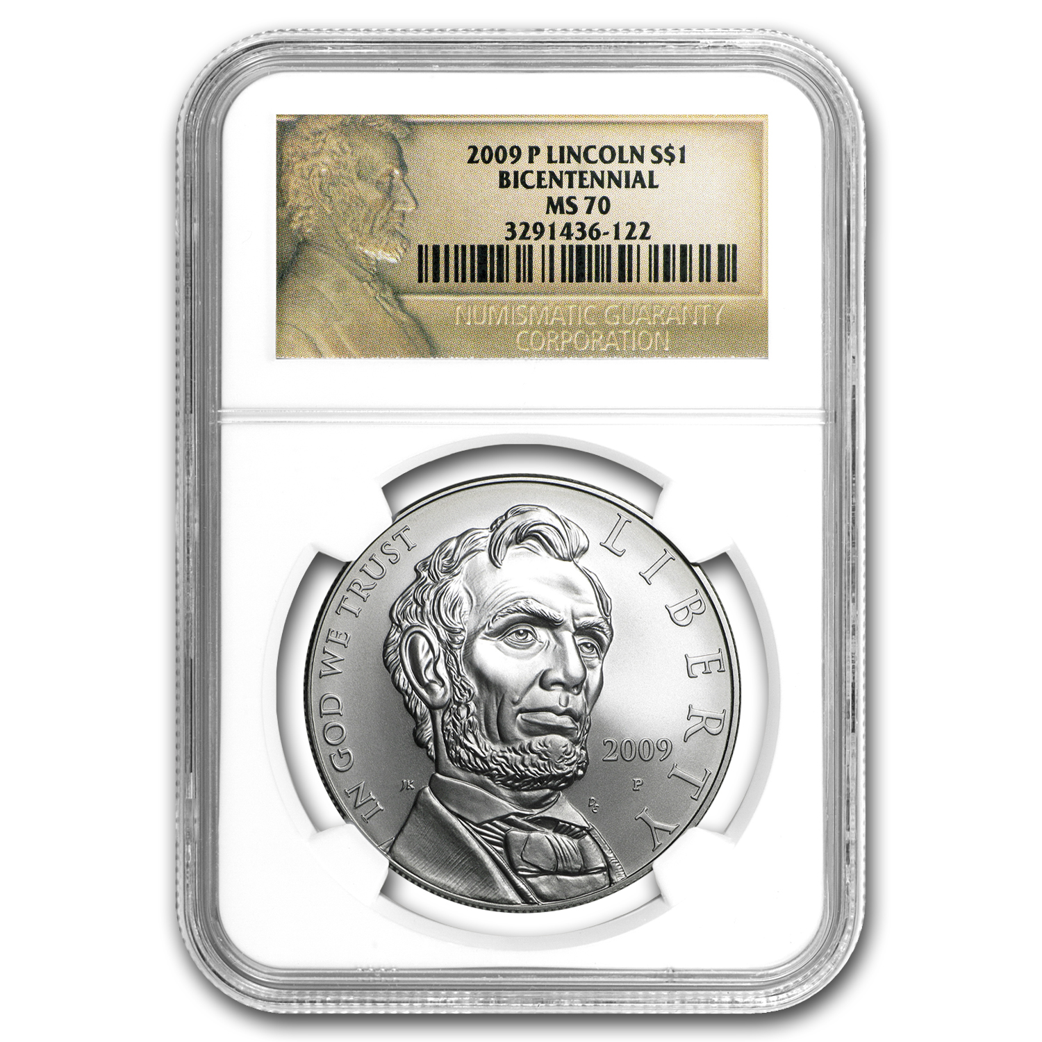 2009-P Abraham Lincoln $1 Silver Commem MS-70 NGC