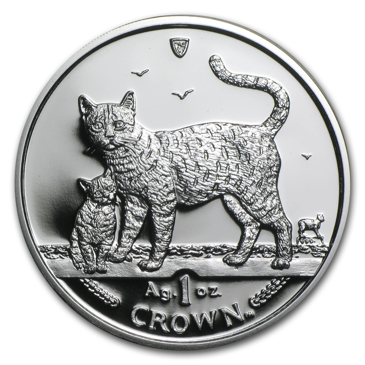 2002 Isle of Man Silver 1 Crown Bengal Cats Proof
