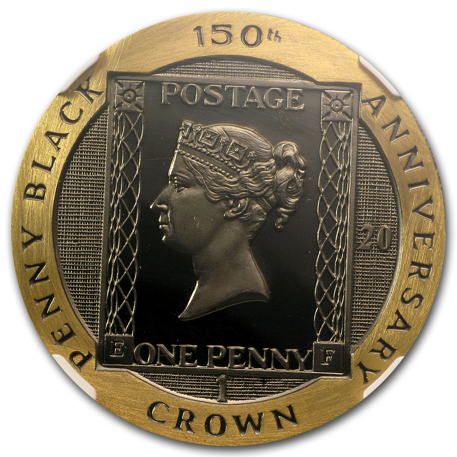 1990 Isle of Man 1 Crown Gold Penny Black Gem PF (20th Anniv)