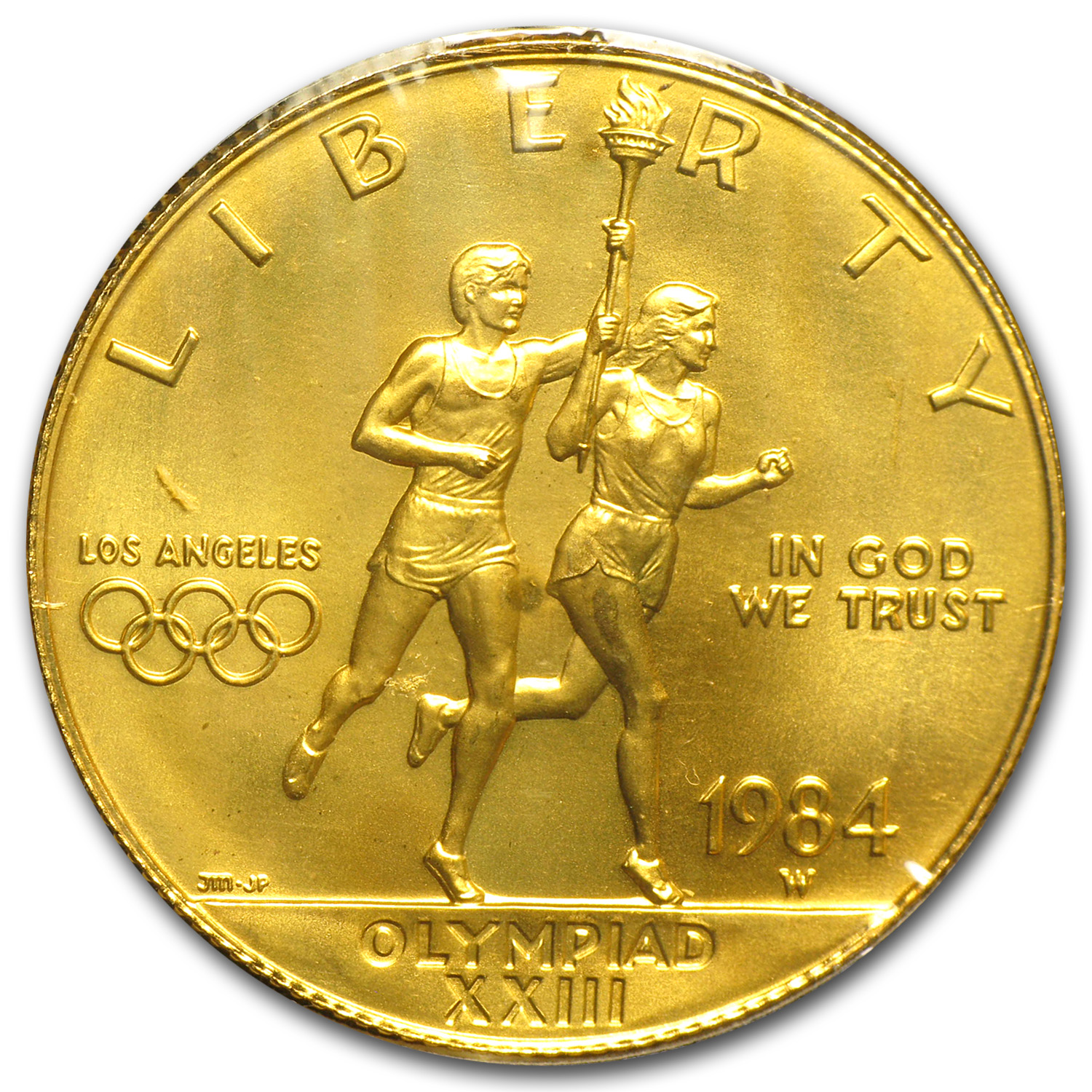 1984-W Gold $10 Commem Olympic (Original Olympic Serial # Holder)