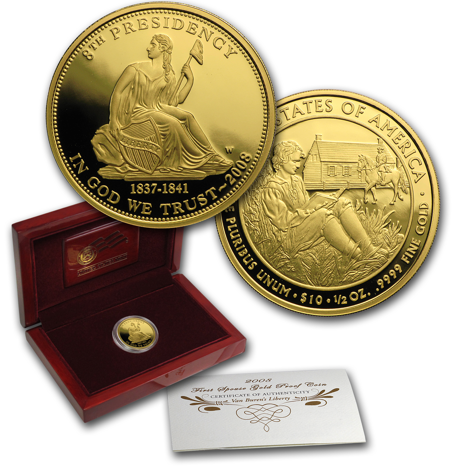 2008-W 1/2 oz Proof Gold Van Buren's Liberty (w/Box & COA)