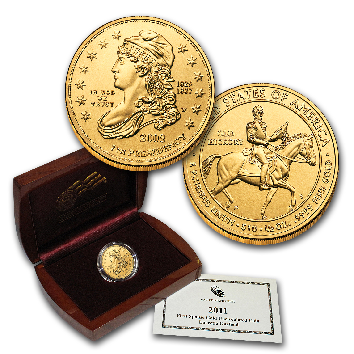 2008-W 1/2 oz Gold Jackson's Liberty BU (w/Box & COA)