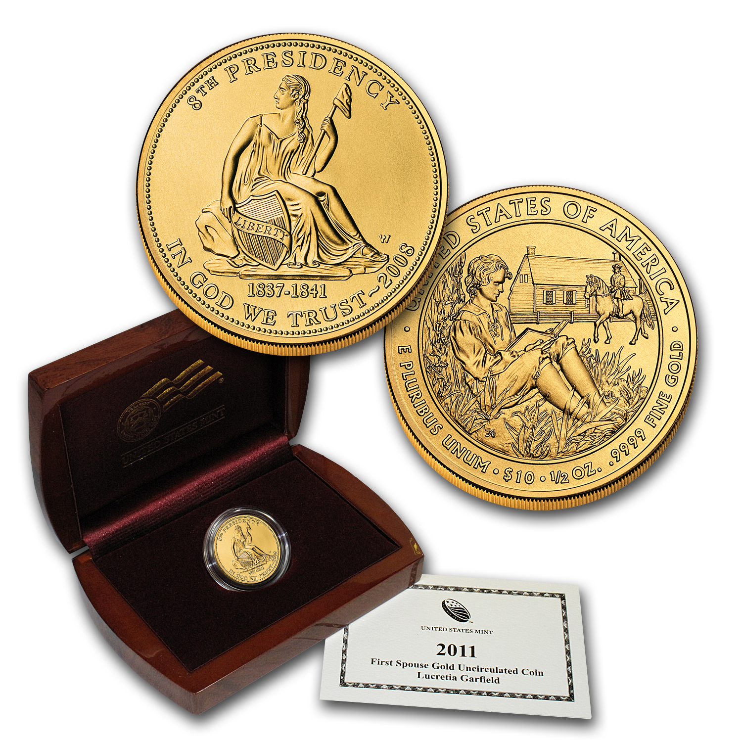 2008-W 1/2 oz Uncirculated Gold Van Buren's Liberty (w/Box & CoA)