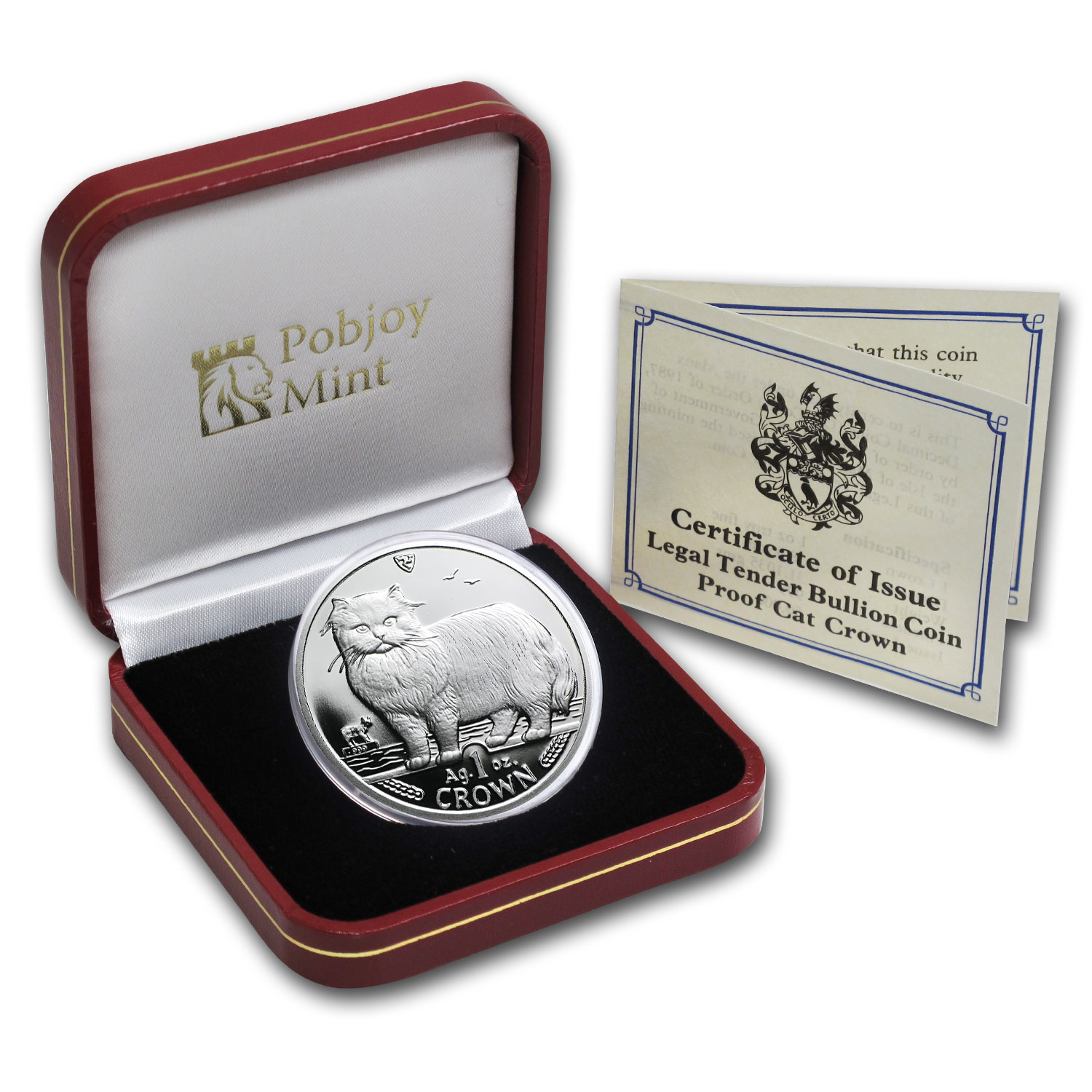 Isle of Man 1989 1 Crown Silver Persian Cat Proof
