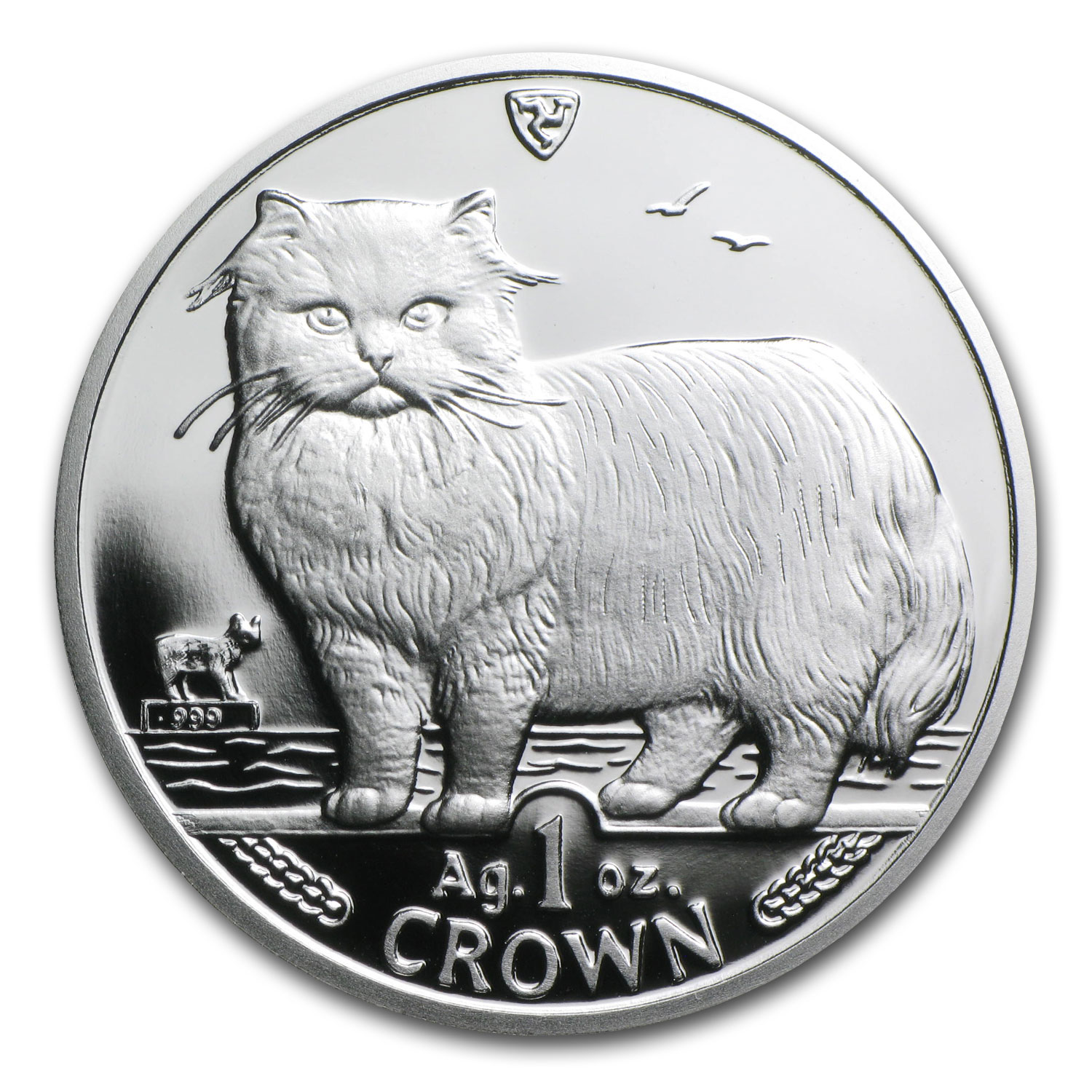 1989 Isle of Man Silver 1 Crown Persian Cat Proof