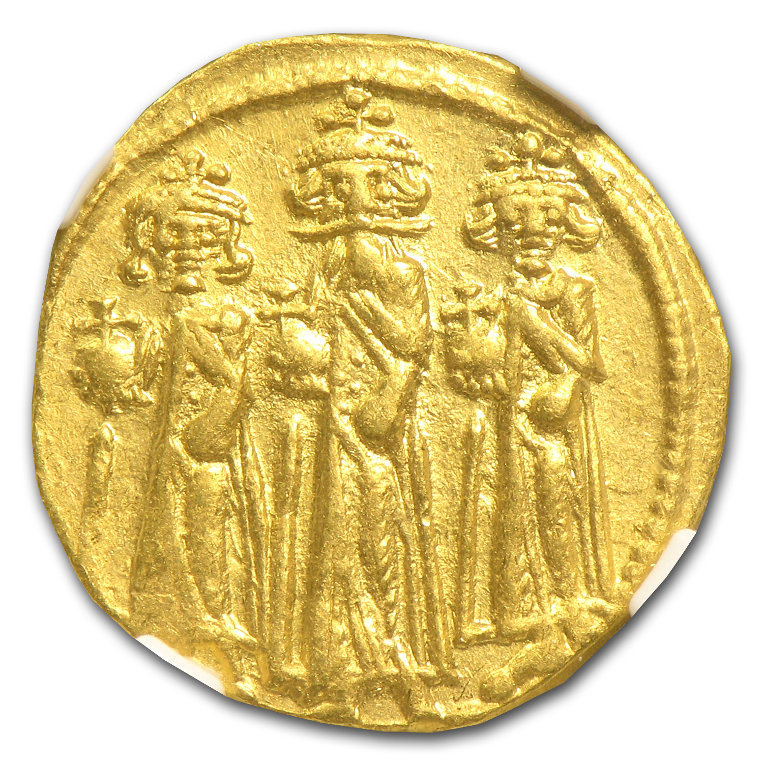 Byzantine Gold Coin - Heraclius (610-641AD) - ChAU NGC