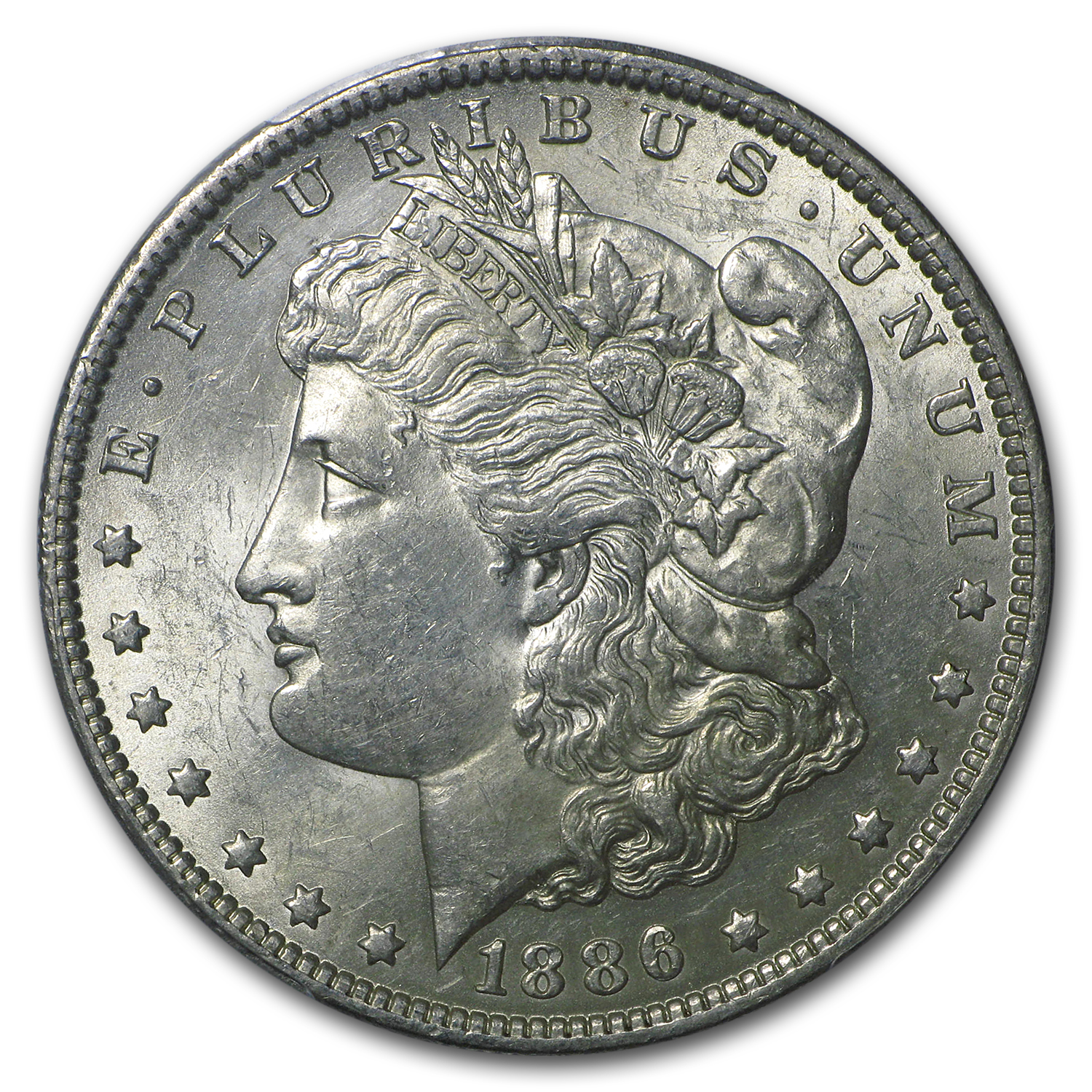 1886-O Morgan Dollar - Almost Uncirculated-58