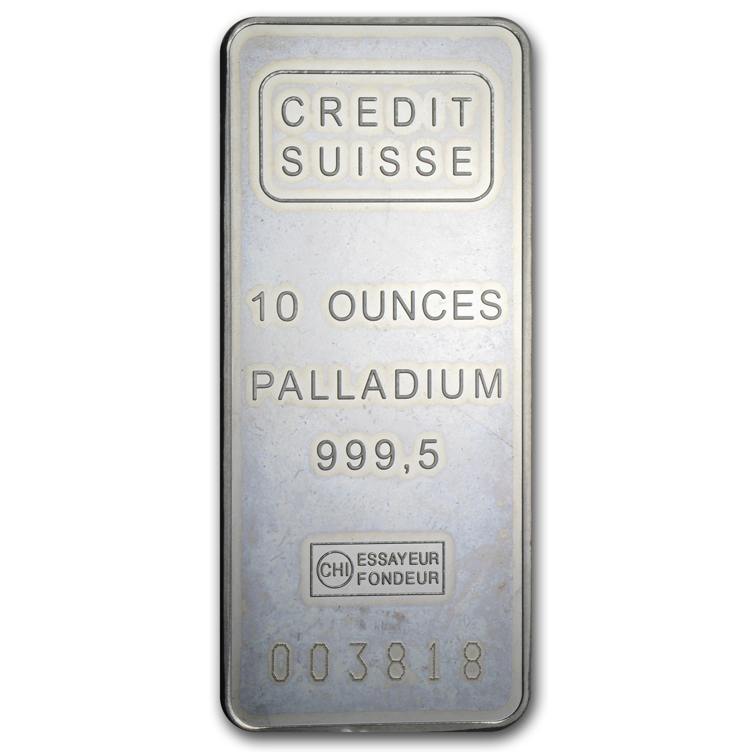 10 oz Palladium Bar - Credit Suisse (.9995 Fine)