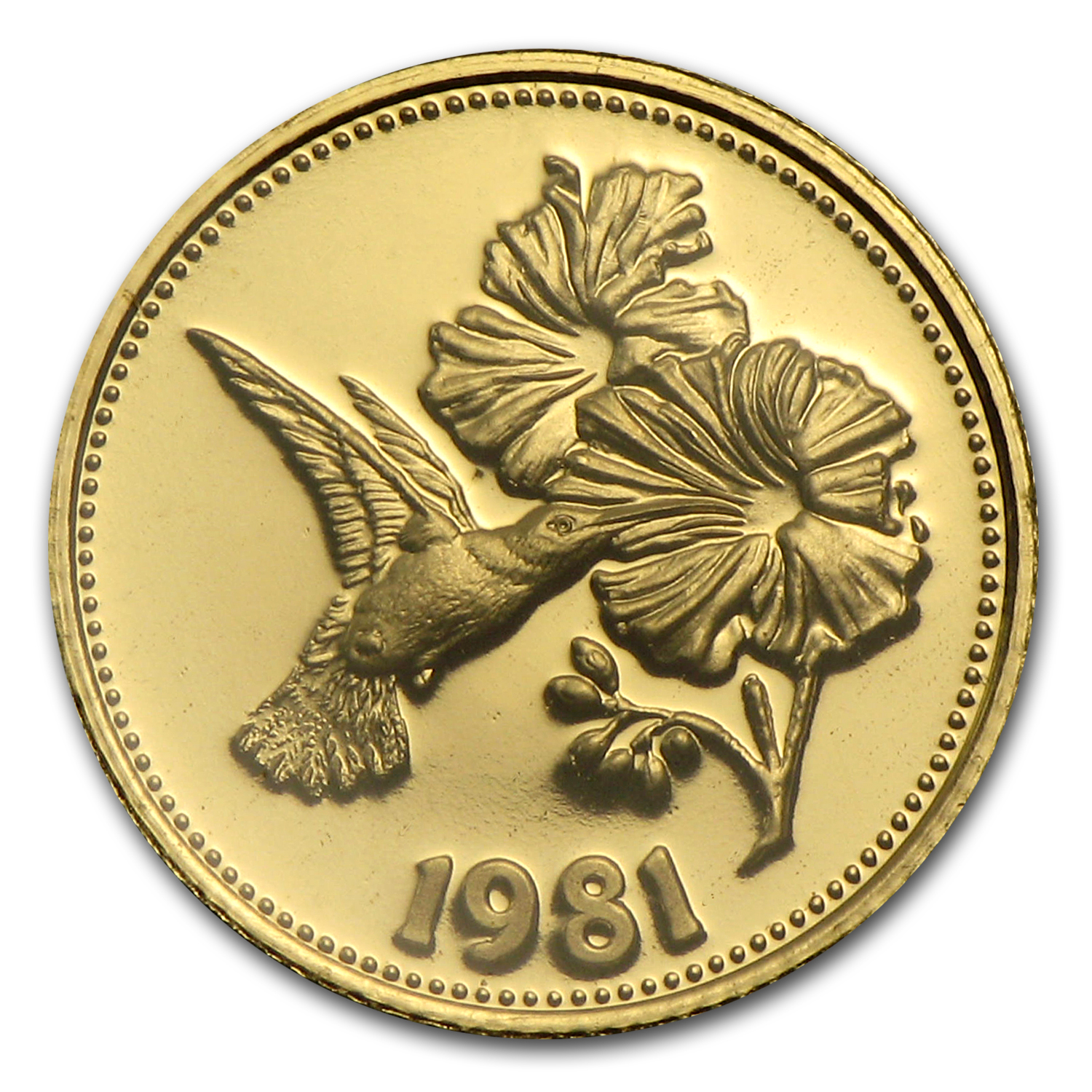1981 Belize Proof Gold 50 Dollars Hummingbird