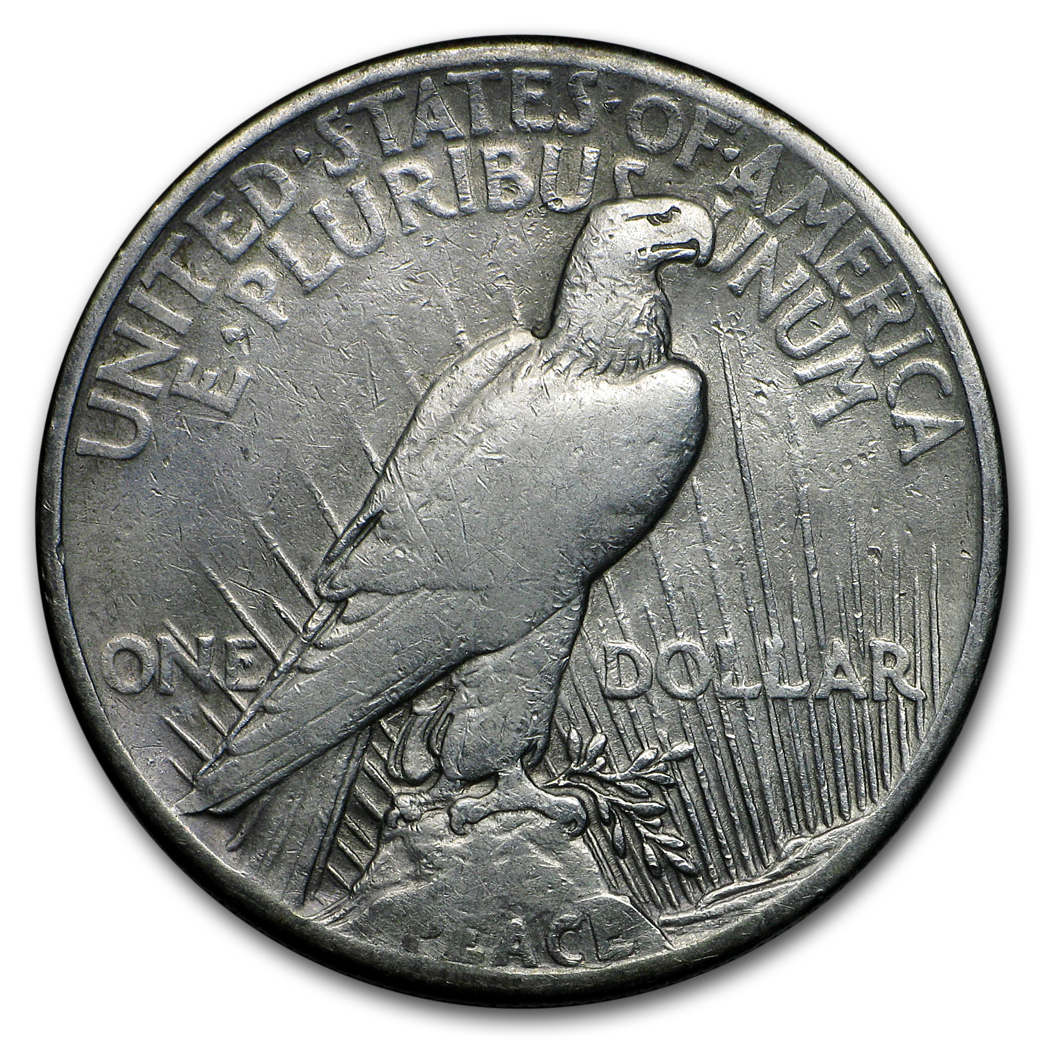 1921 Peace Dollar VG/VF Details (High Relief, Dmgd)